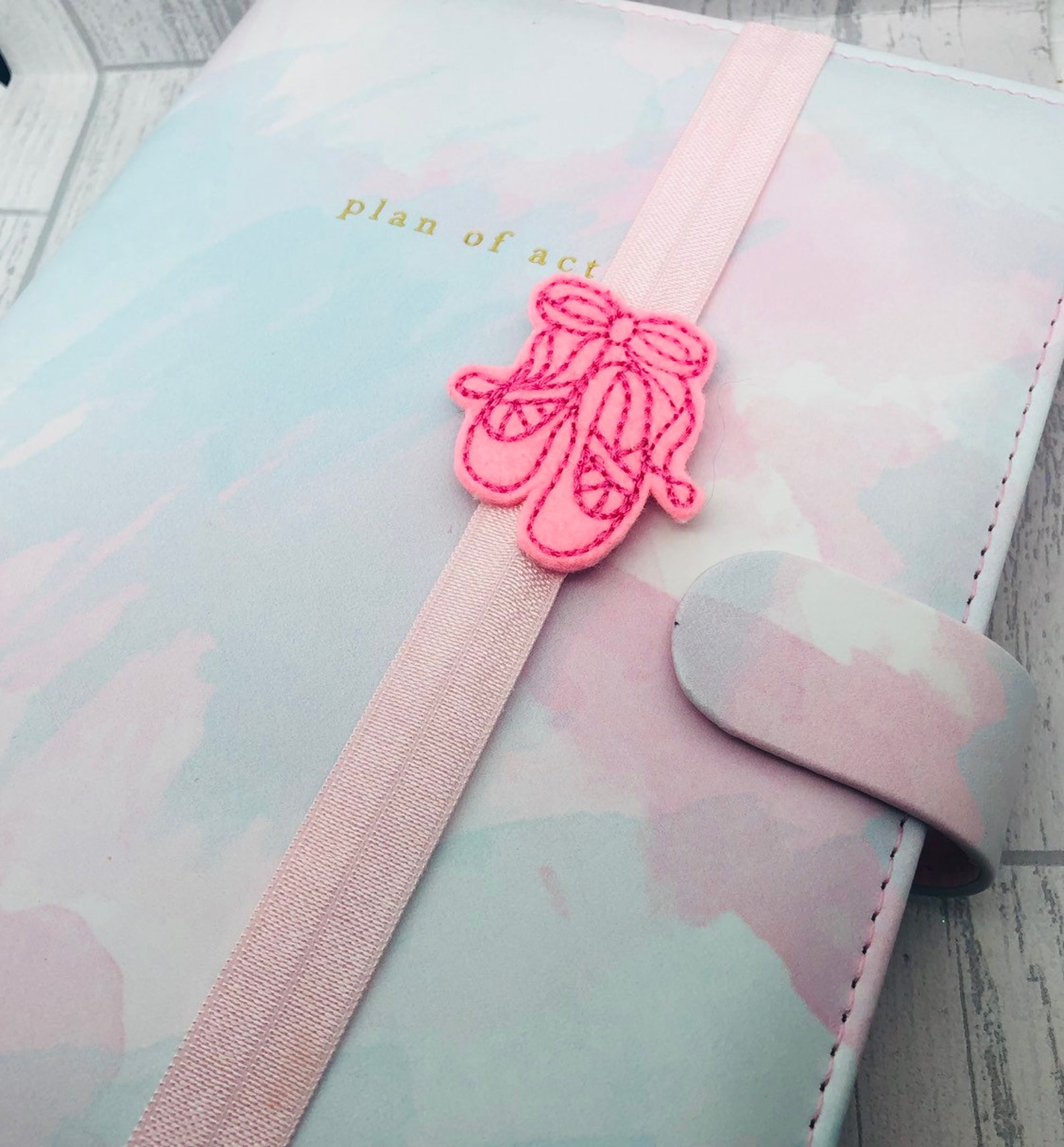 pink ballet shoes planner band a5 bookmark planner