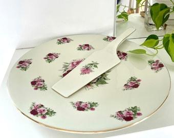 Vintage Chintz Porcelain Cake Server Black /& White Toile Roses Pattern Formalities by Baum Bros