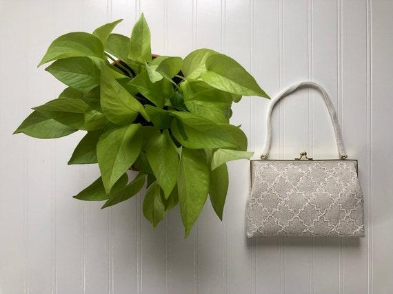 Vintage White Beaded Walborg Purse Handbag Satin L