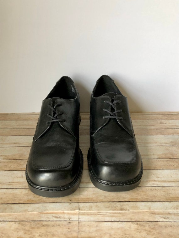 Vintage Black Leather Chunky Oxford Square Toed Sh