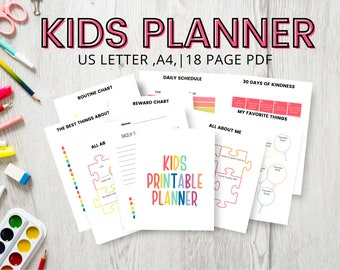 Kids Planner, Weekly Planner for Kids, Daily Planner for Kids, Planners for Kids, Elementary Planner, School Planner, Best Planner for Kids