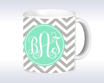 Personalized Coffee Mug - Chevron Monogrammed Mug - Monogram Coffee Mug