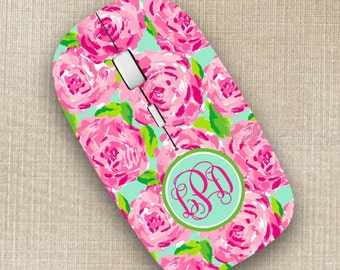 Lilly Pulitzer Inspired Wireless Mouse Monogrammed Personalized Optical Mouse