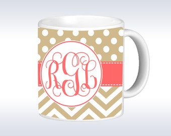 Personalized Coffee Mug - Polka Dot and Chevron Monogrammed Mug - Monogram Coffee Mug