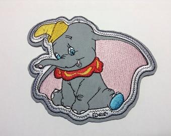 Iron on Sew on Patch:  Dumbo Elephant (Large)