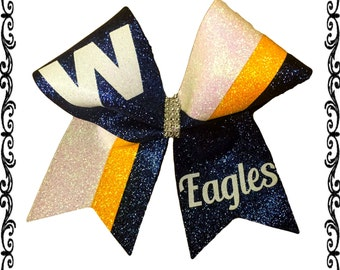 Cheer letter etsy team letter and mascot glitter cheer bow altavistaventures Gallery