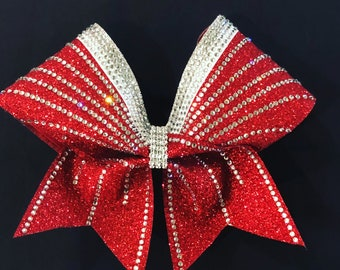 3 colored sprayed out rhinestone cheer bow