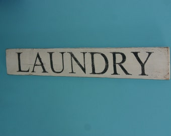 Reclaimed cedar painted laundry sign