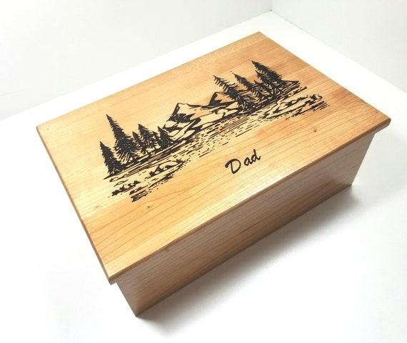 Personalized Mountain Scene Memory Box 12x8x4 Rustic Memorial Etsy