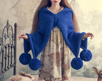 Crocheted shawl wool ball - thick knitted Cloak - and - Witch hooded sweater coat -fringed Cloak - knitted coat