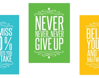 Set of 3 Colorful Large Big Posters (13 X 19) Motivational Inspirational Quote Wall Art Posters Typographic UNFRAMED Wall Decor Home Office