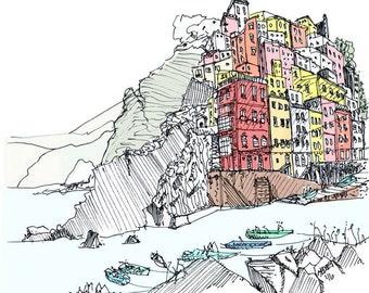 "Pen and Ink Sketch 12"" x 12"" Print of Cinque Terre Italy"