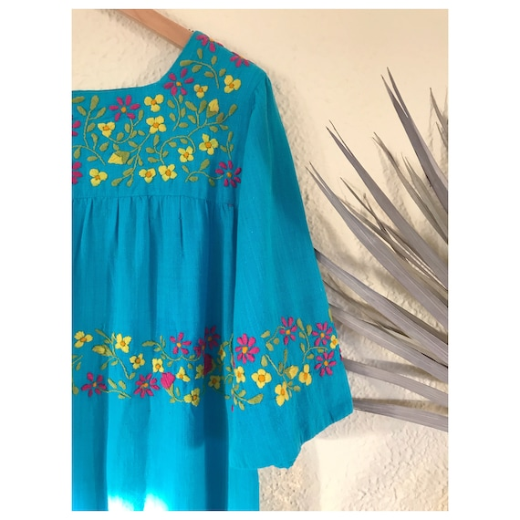 Vintage 1970 Mexican Embroidered Dress