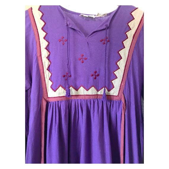 Vintage 1970's Purple Embroidered Boho Bib Dress - image 3