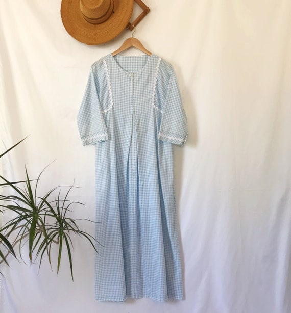 Vintage 70's Pastel Blue Gingham Maxi Dress