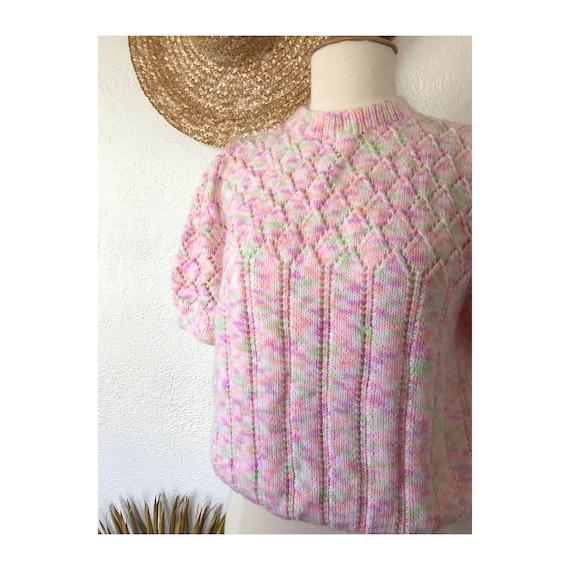 Vintage 70's Pastel Rainbow Crop Spring Sweater - image 3