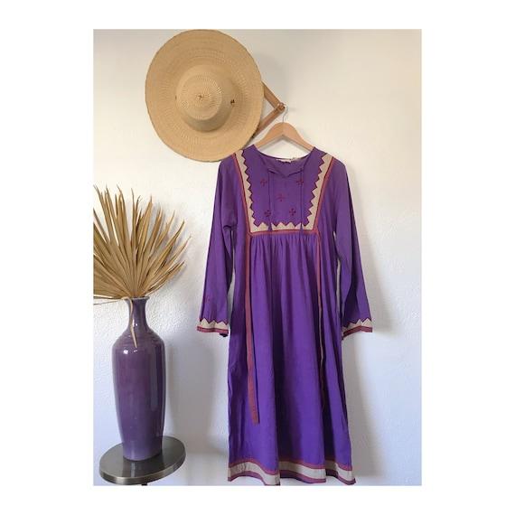 Vintage 1970's Purple Embroidered Boho Bib Dress - image 2