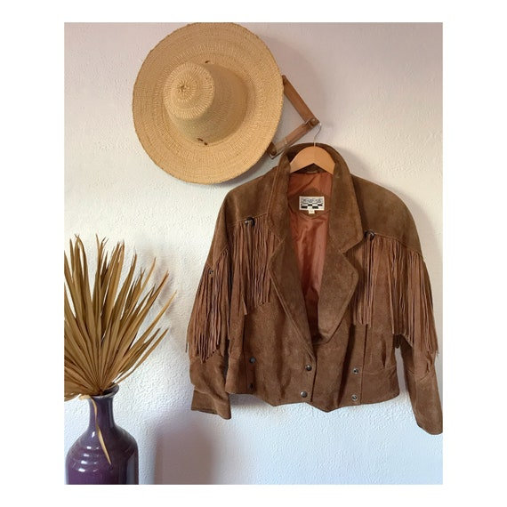 Vintage Suede Leather Fringe Jacket