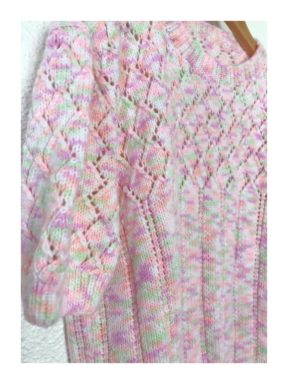 Vintage 70's Pastel Rainbow Crop Spring Sweater - image 4