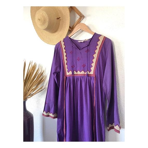 Vintage 1970's Embroidered Boho Dress