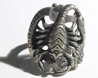 Large Scorpio/ Scorpion Zodiac Ring October November, Sterling Silver, Vintage c1940s