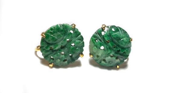 14k Carved Green Jadeite Button Screw Back Earrin… - image 1