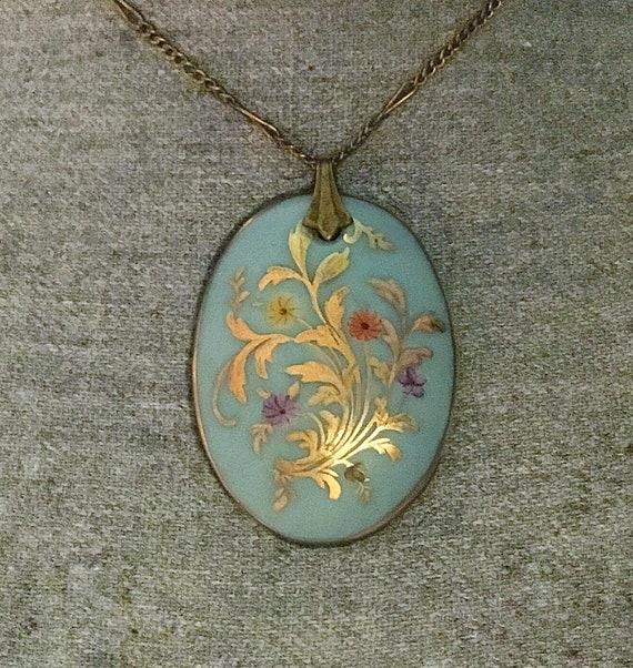 Antique Edwardian Porcelain Pendant Necklace, Hand