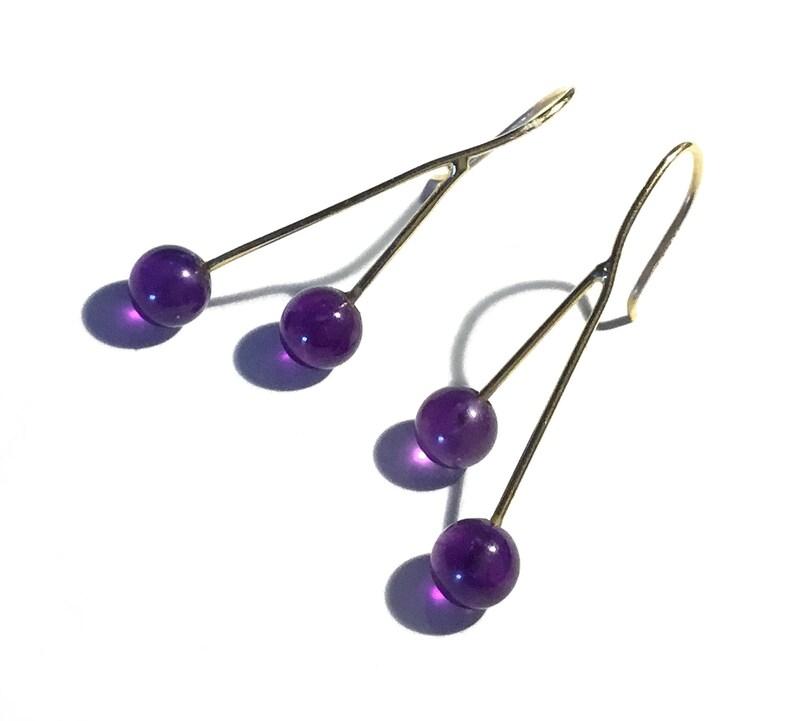 Modernist Style 14k Yellow Gold Amethyst Balls Drop Pierced Earrings