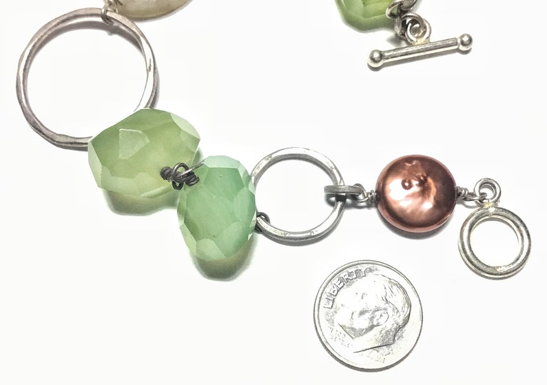 Sterling Bracelet with Green Prehnite Druzy Quartz /& Freshwater Pearl