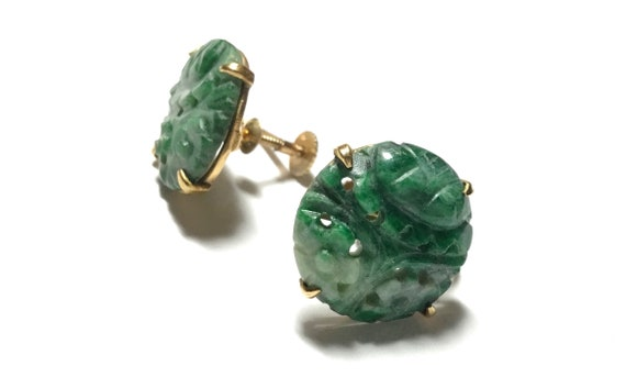 14k Carved Green Jadeite Button Screw Back Earrin… - image 3
