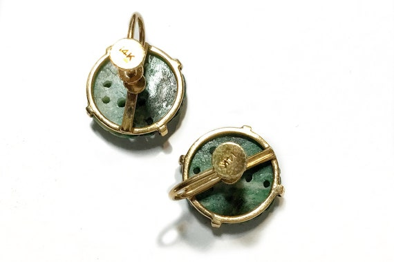 14k Carved Green Jadeite Button Screw Back Earrin… - image 4