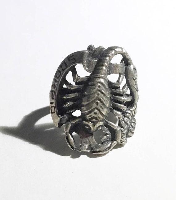Large Sterling Scorpio/ Scorpion Zodiac Ring, c194