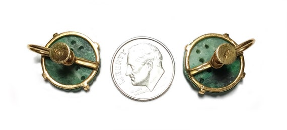 14k Carved Green Jadeite Button Screw Back Earrin… - image 5