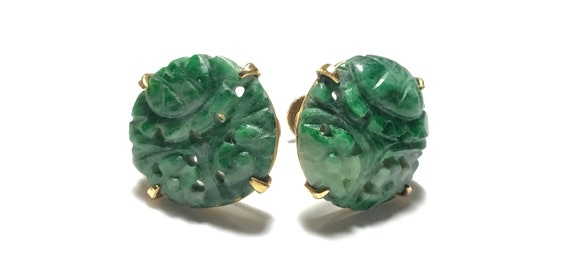 14k Carved Green Jadeite Button Screw Back Earrin… - image 2