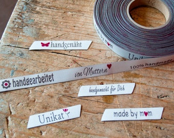 10 Handmade Webetiketten Label Stofflabel Handmade Hochkant Weblabel hellblau