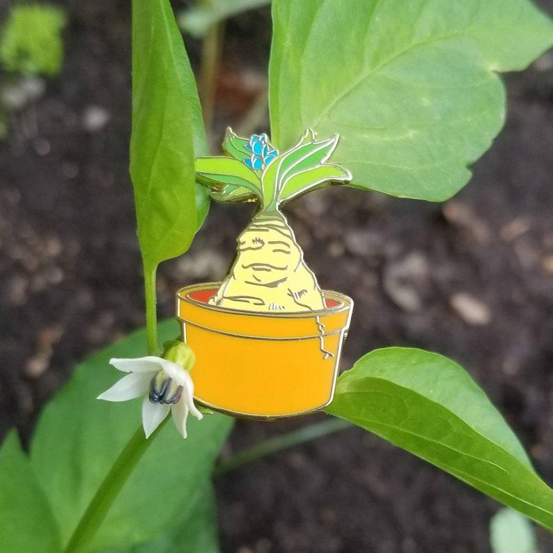 Golden Hard Enamel Pin Harry Potter inspired Mandrake image 0