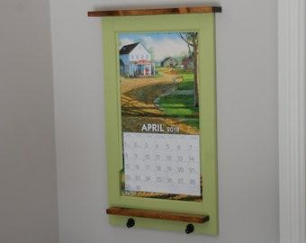 Calendar holder, calendar frame, rustic, pine, cottage