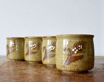 Rustic Wheat Glazed Ceramic Cups - Set of 4