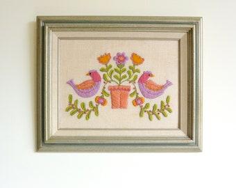 SOLD - Metallic Framed Embroidered Folk Artwork of Birds and Plant