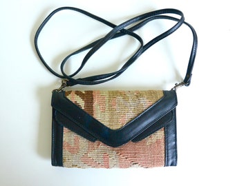Vintage Black Leather Woven Tapestry Crossbody   Wristlet   Wallet   Purse    Bag   Fashion   Festival   Gift 0adcabde0a2ae