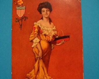 SALE! California Postcard  Antique  State Lady Postcard Vintage Artist Signed  National Art Co.