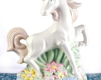 SALE Retro/Vintage 1980s Rainbow pastel white unicorn - gold horn statue '80s