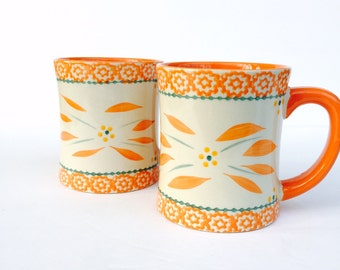 SALE Retro/Vintage Temptations Presentable Ovenware by Tara - handcrafted/hand painted set of FOUR (4) dishes and TWO (2) over sized mugs