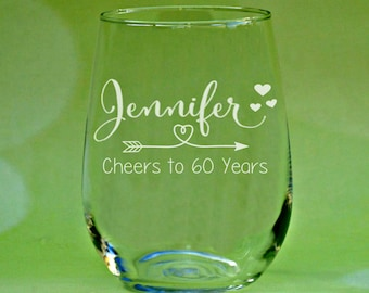 60th Birthday Gift, Birthday Wine Glass, 60th Anniversary, Vintage 1957, Cheers to 60 Years, Moms 60th, Woman's 60th Birthday, 60th Party