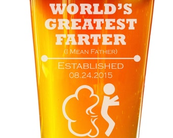 Personalized Fathers Day Gift, Fathers Day Pint Glass, World's Greatest Farter, Best Farter Ever, Gift for Dad, Greatest Farter, Worlds Best