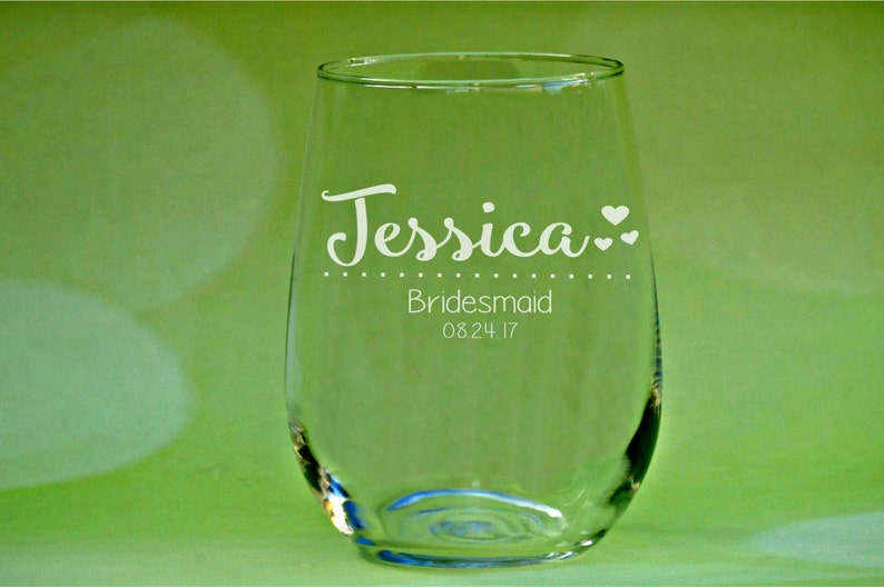 a0f857272ba Personalized Wine Glasses Bridesmaids Glass Custom Name | Etsy
