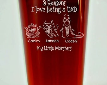 Personalized Fathers Day Gift, Fathers Day Pint Glass, Fathers Day Gift, Gift for Dad, Dad's Little Monsters Pint Glass, Pint, Beer Glass