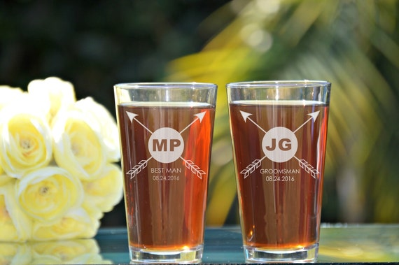 groomsmen pint glass personalized pint glasses wedding party etsy