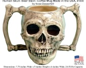 Human Skull Extra Large 24 fluid ounce capacity Beer Stein Coffee Mug, Double Bone Handle, Made in USA #1839