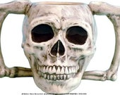 Wake and Bake Coffee Beer Mug Double Bone Handle Human Skull Hand Made In USA